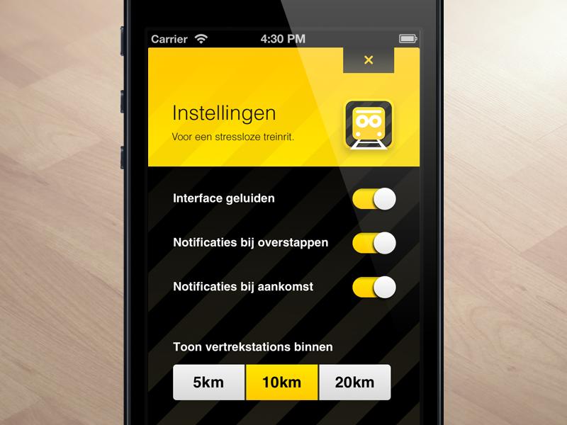 SnelTrein interface design: Settings settings interface design ui ux public transport mobile