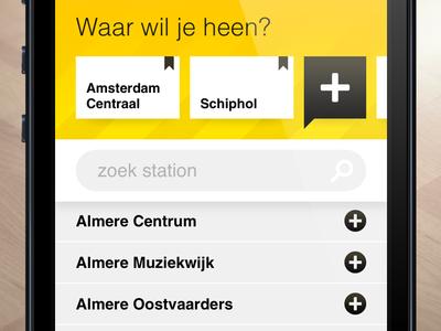 SnelTrein interface design: Add favorite destinations mobile interface design ui ux public transport