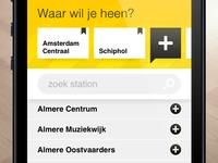 SnelTrein interface design: Add favorite destinations