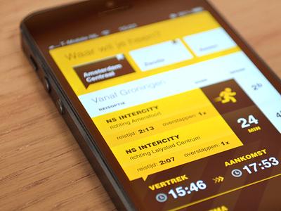SnelTrein interface design: Overview design interface mobile public transport ui ux
