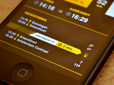 SnelTrein interface design: Time to switch trains design interface mobile public transport ui ux