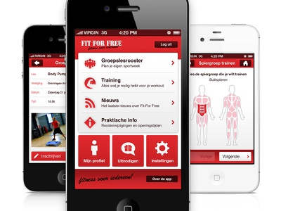 Fit For Free app design mobile ui ux iphone interface