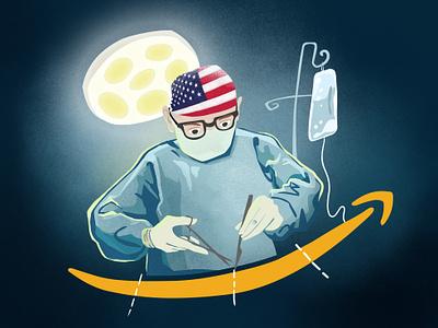 Amazon Anti-Trust Article usa flag usa surgeon illustration anti-trust amazon