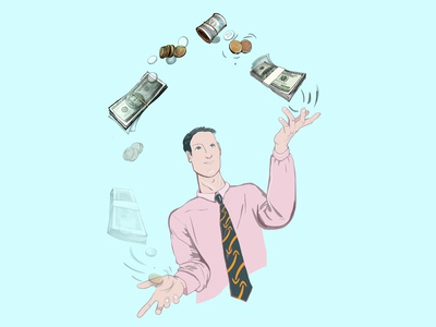 Businessman juggling with money