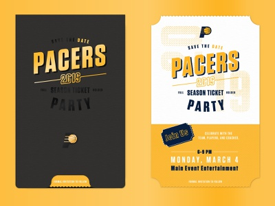 Pacers Save The Date sports brand save the date party invitation direct mail print