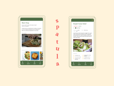 Spatula Cooking App instructional cooking app ui  ux mobile ui ui design minimalist ui cooking