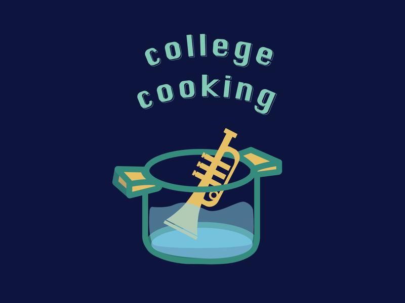 College Cooking lofi jazz cooking album artwork album art instrument trumpet graphic illustration