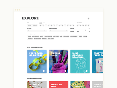 Art with Heart Activities Page ux illustration card design ux design exploration design ui visual design art education education activities explore filtering filters