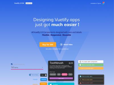 Vuetify UI Kit landing page design
