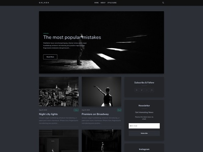 Galada blog web dark theme design