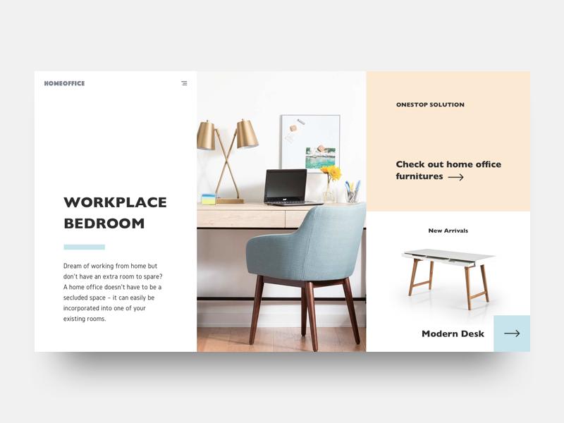 Design exercise - visual hierarchy pastel scandinavian above-the-fold web design furniture minimalist