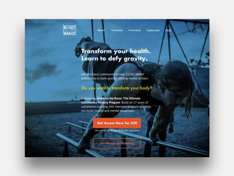 Design exercise–course landing page informational ux design exercise web design landing page course