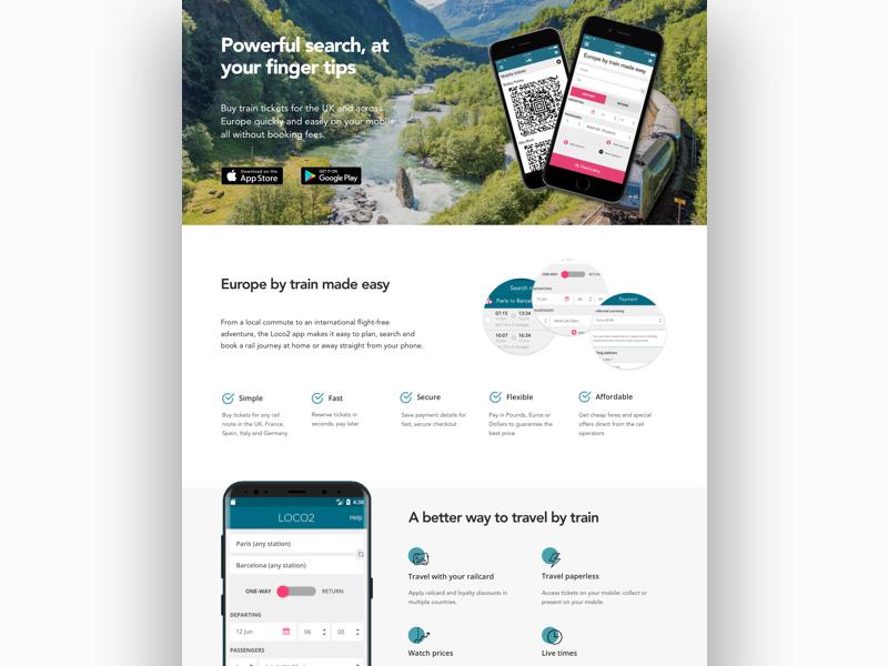 Travel App Landing Page Design responsive design web ui web ux booking app travel app landing pages