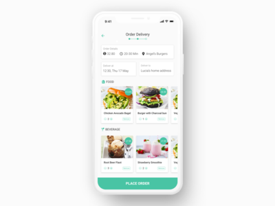 Food delivery app order page concept design