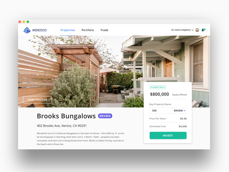 Blockchain Property Web App Product Detail Page ui ux interface design web ui property details real estate property app web app tokenization cryptocurrency crypto blockchain