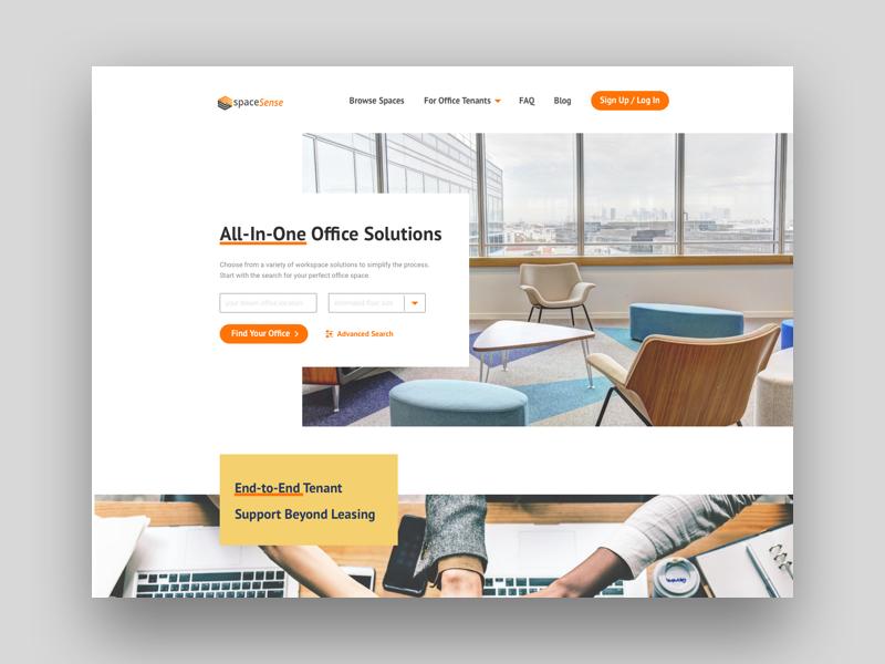 Commercial Property Platform Home Page ui ux interface design rebranding redesign responsive layout responsive design color block dynamic layout abovethefold home page design