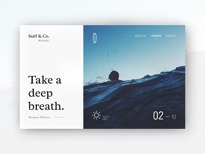 Surf & Co. waikiki ocean water sun conceptual website concept website webdesign surfing surf concept