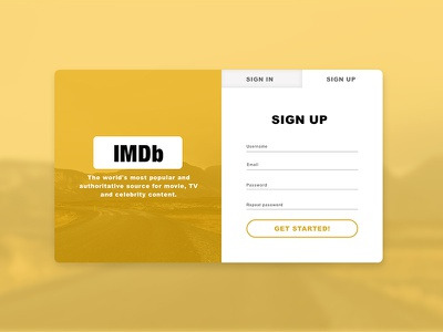 Daily Ui #001 Sign up page imdb sign-up dailyui