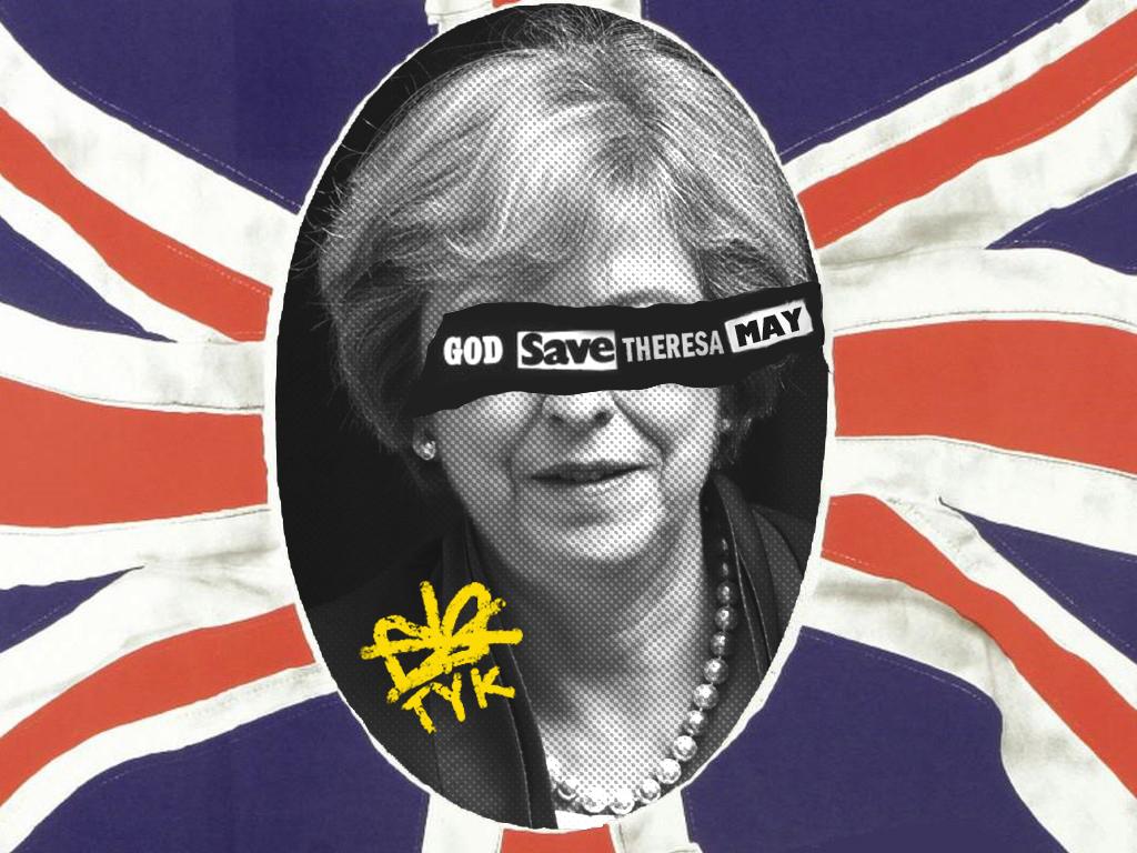 God Save Theresa May illustration design logo branding street art grafitti stamp logomark youth political campaign politics british uk ooh social conent flag collage typography teresa may