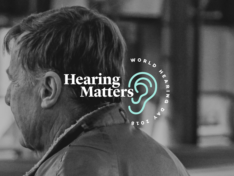 Hearing Matters vector illustration typography world hearing day ears hearing health design branding logomark logo