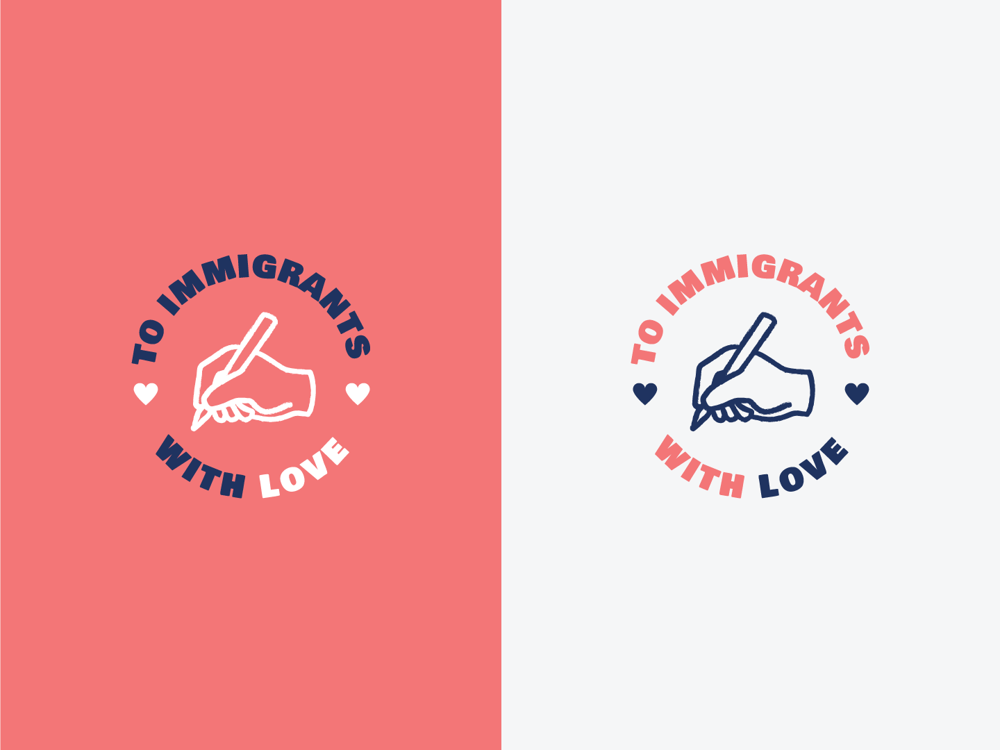 To Immigrants With Love love letter heart seal badge logomark valentines day immigration illustration typography branding logo