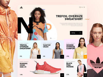 Adidas Ecommerce Store Concept - Home page clothes clean modern ux ui design marcinrumierz 7ninjas adidas shop store ecommerce