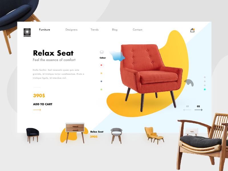 Furniture Ecommerce Shop - Product Card marcinrumierz eames clean minimal shop store ecommerce furniture ux ui design