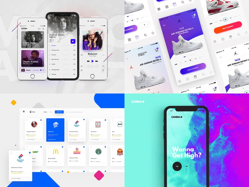 Top 4 Designs 2018 branding illustration animation shop mobile modern ux ui ecommerce design clean marcinrumierz