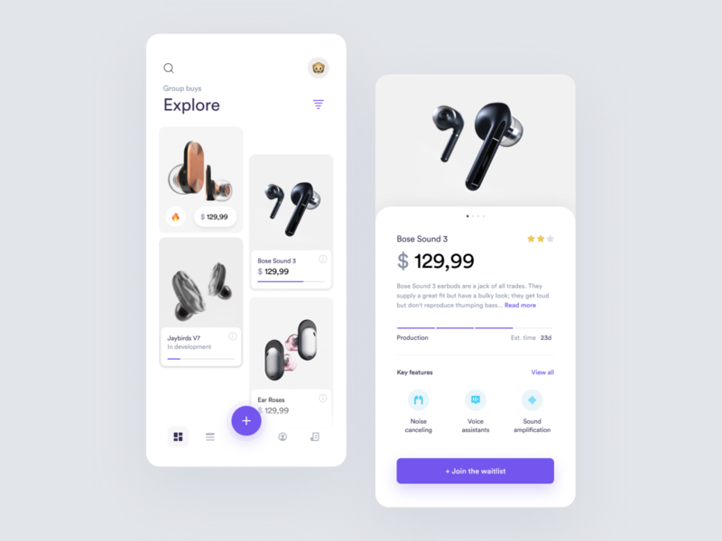 Group Buy App blue product page figma application iphone mobile app product store design concept minimal ux technology ios purple swipe cards ui clean app