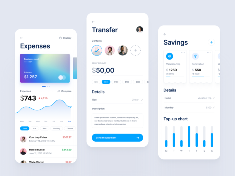 Banking App money finance transaction balance dashboad credit card ux ui clean colors blue input contacts chart mobile ios business banking bank app