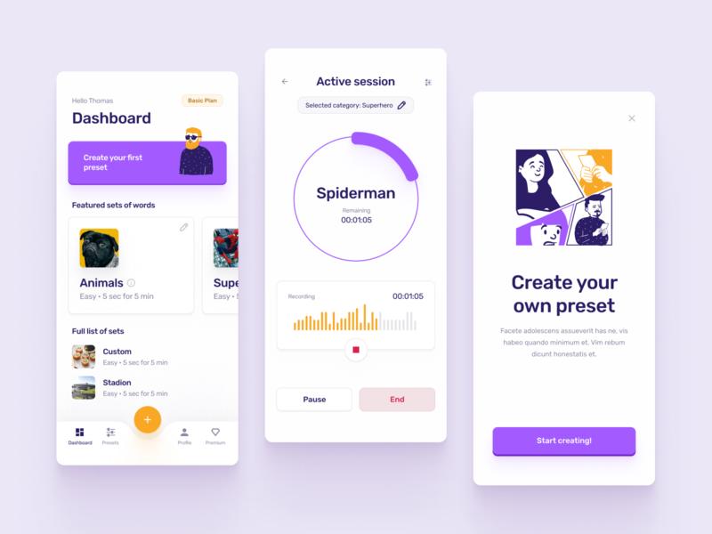 Word Generation App character colors button panel session dashboad premium recording orange purple mobile ios design illustration chart cards ux ui clean app