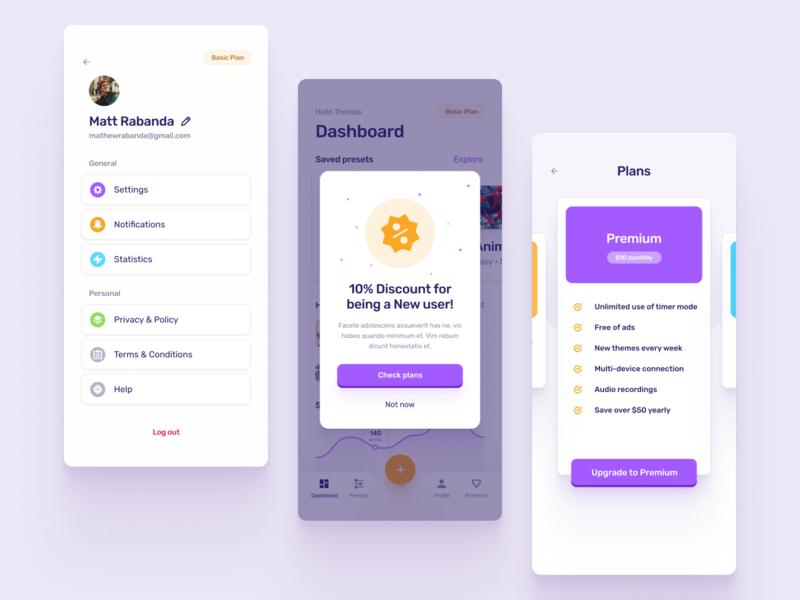 Word Generation App 2 button panels orange purple profile navigation settings pricing chart notification dashboad colors mobile ios design cards ux ui clean app