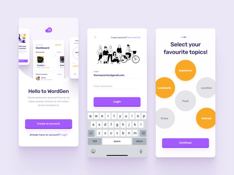 Word Generation App 3 food input progress flow dashboad illustraion sign up login purple orange navigation colors mobile ios design cards ux ui clean app