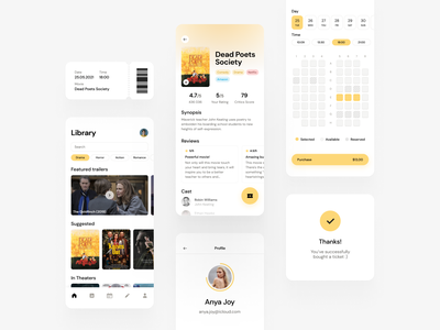 Movie Rating & Ticket Booking App ticket booking movie ui ux social media modern minimal layout profile cinema yellow navigation dashboad mobile ios cards ux ui clean app