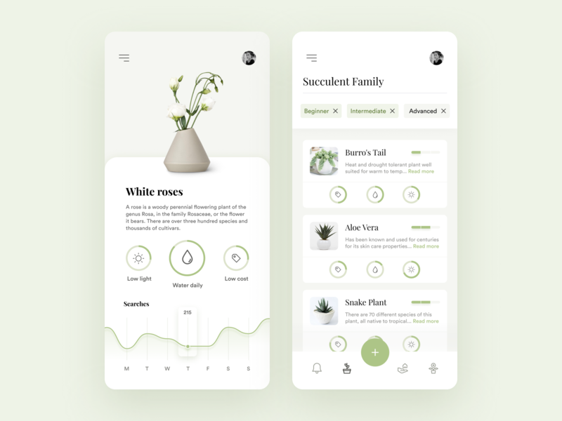 Plant Care App green cards health chart search navigation clean mobile design mobile app mobile iphone ios graph gardening care plant app ux ui design