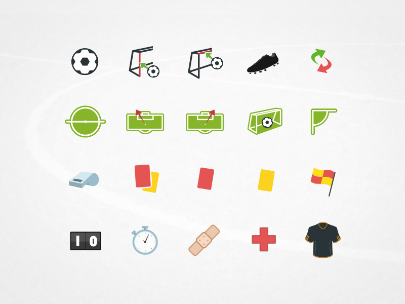 Football Icons app soccer 2d illustrator vector icons football