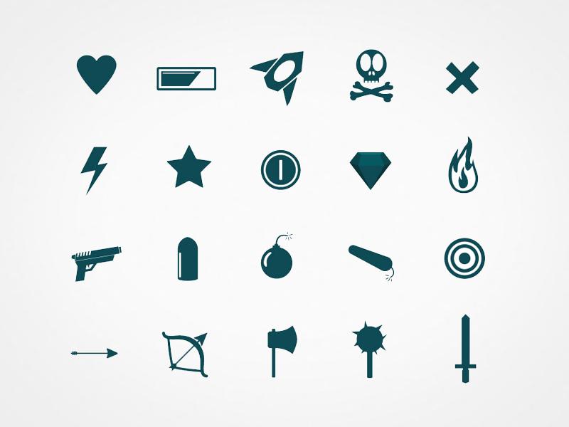 Game UI Icons minimal flat 2d illustration game ui icons