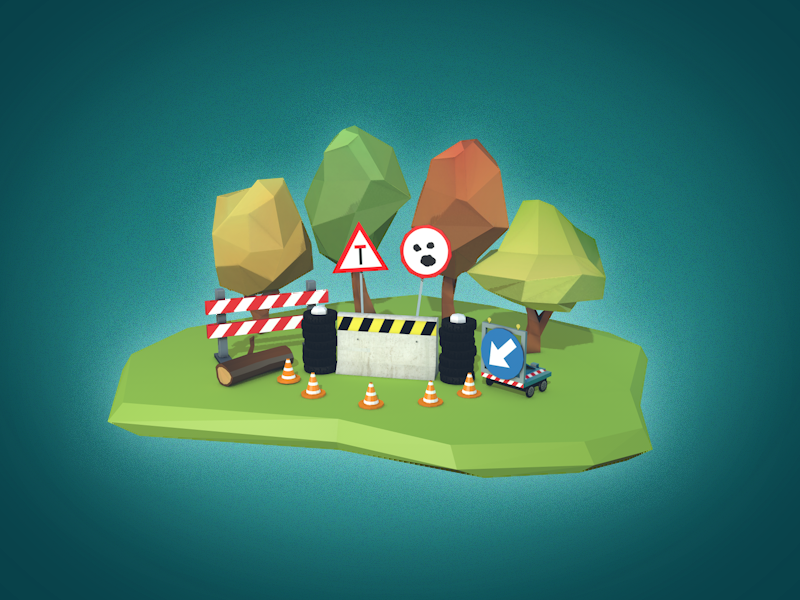 Road Rage Props modeling roadblock unity ios game props low poly 3d