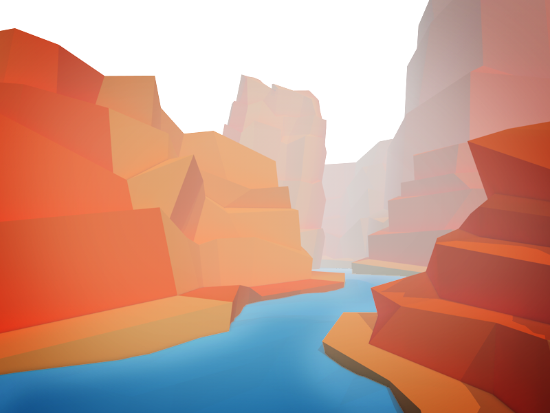 Foggy Canyon concept fog river low poly canyon landscape illustration 3d