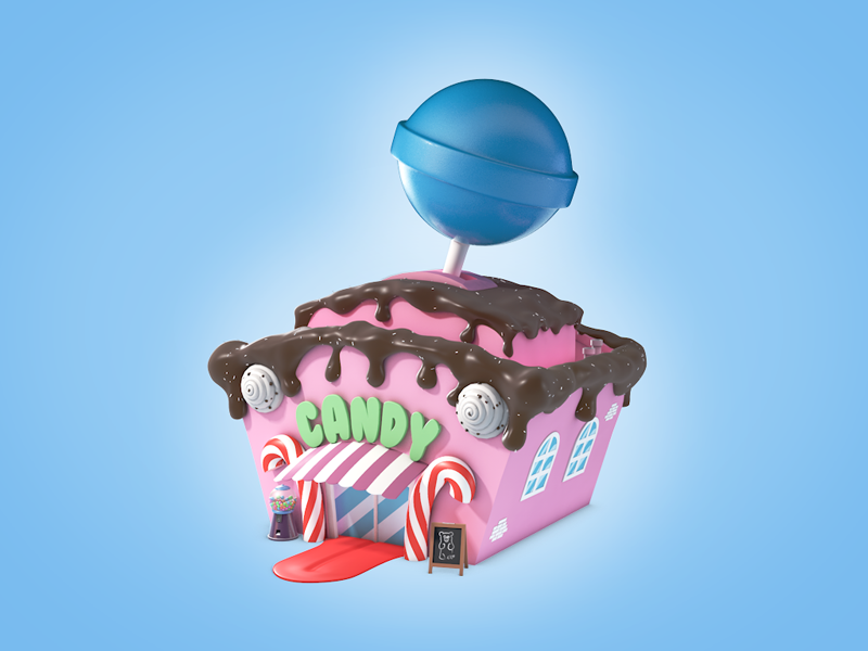 Candy Shop lolly sweet 3d illustration cartoon building shop candy