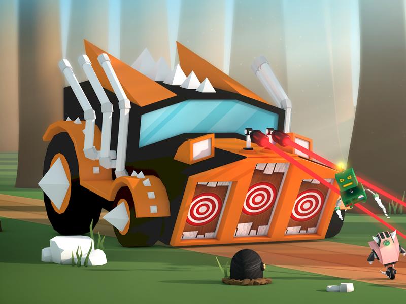 Splash Screen low poly fight forest app cartoon splash screen robot boss illustration 3d game