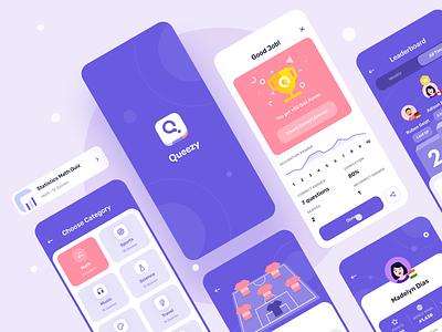 Queezy - Quiz App UI Kit user interface quiz app mobile mobile app ui design games app games learning education school trivia quiz illustration ios design minimal ux ui app