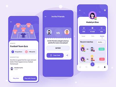 Quiz Details,  Invite Friends & Profile Screen minimal design trivia mobile app userinterface games app education app quiz app illustration ios design minimal ux ui app