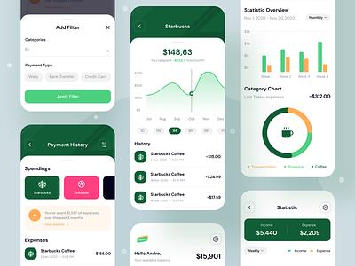 Wpay App - Modern E-wallet App UI Design Kit analytics notifications homepage ui kit fintech app ux ui ios money ui8 finance payment mobile app design minimal mobile ui