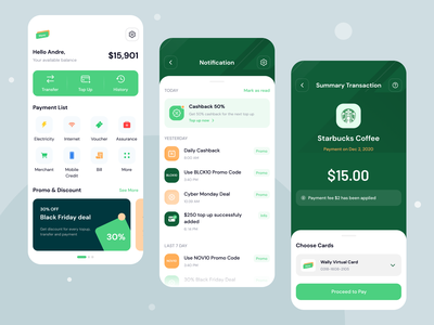 Wpay Homepage, Notification, Summary Transaction ui8 mobile ui fintech payment e-wallet finance summary notifications mobile app homepage ios design minimal ux ui app