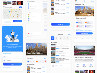 Voilá Itinerary app itinerary travelling uxui travel app principle app protopie product design animation uidesign microinteraction