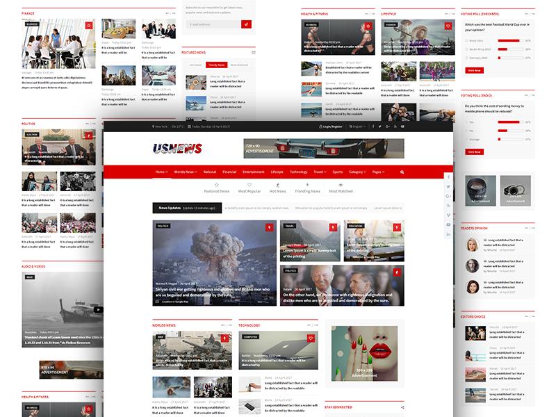 Usnews Multipurpose News Magazine And Blog Html5 Template Responsive Newspaper Site Paper