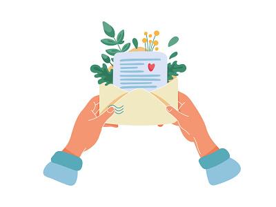 Good news news love envelope letter illustrator flowers garden plants vector flat