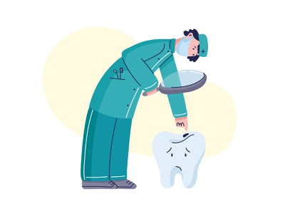 Dentist illustrator dentistry caries vector character stomatology tooth dentist