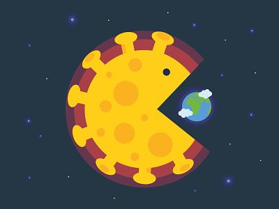 Coronavirus pandemic planet world earth flat vector covid19 corona virus epidemic pandemic coronavirus